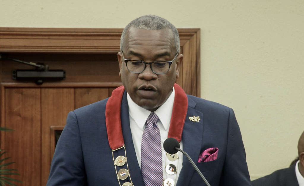 Gov. Albert Bryan Jr. delivers his State of the Territory address. (Photo by Alvin D. Burke Jr.)
