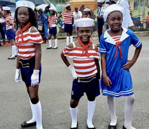 Little sailors were part of Friday's Children's Parade in Frederiksted. (Source photo by Melody Rames)