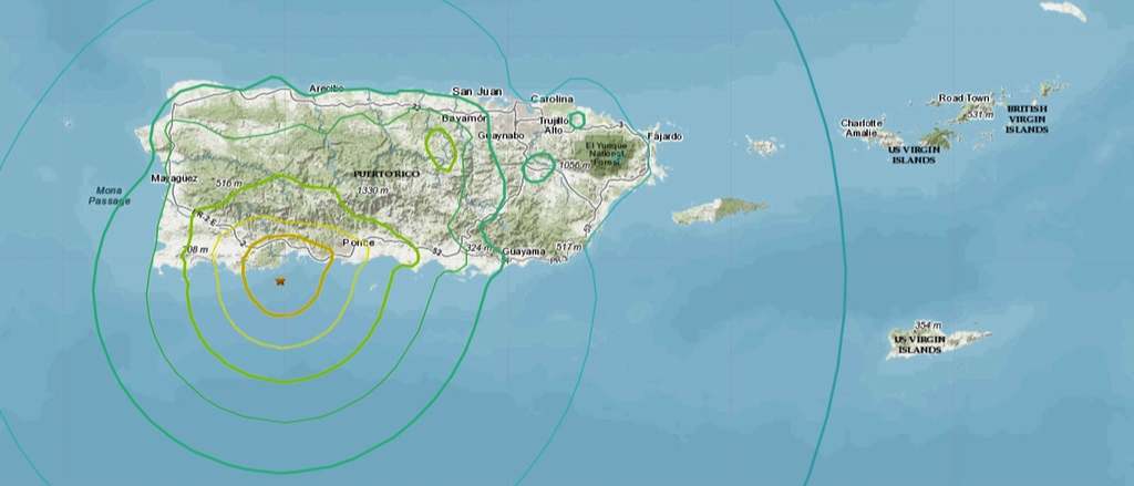 U.S. Geological Survey image shows the location of Tuesday's magnitude 6.5 earthquake.