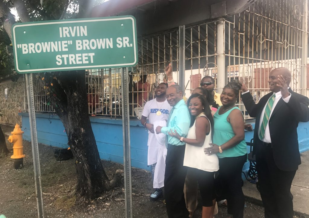 """Friends, family and admirers see unveiling of new sign naming Irvin """"Brownie"""" Brown Sr. Street in September."""