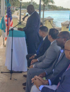 Sen. Novelle Francis speaks at the Frederiksted event (Source photo by Don Buchanan)