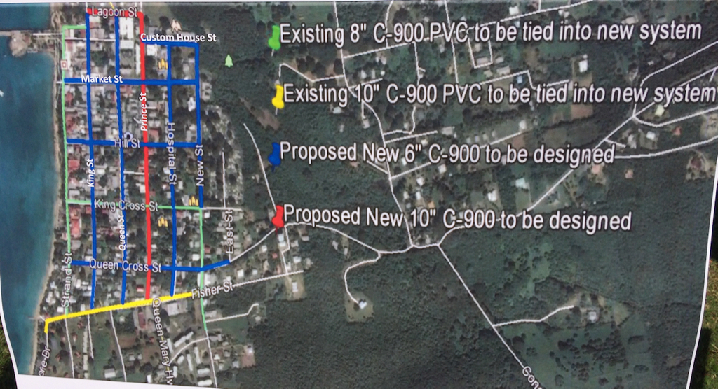 A map shows the plan for work on the Frederiksted project.