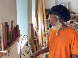Artist in residence, woodworker Afreekan Southwell. (Photo by Juliana Berry)