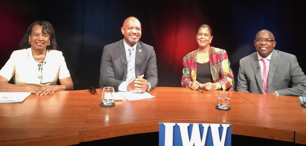 LWV president Gwen Moolenaar, left, conducts televised candidate interviews with Tregenza Roach, Wilma Marsh Monsanto and Albert Richardson. (Photo provided)