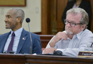 Economic Development Authority Chief Executive Director Kamal Latham, left, and Robert Godfrey, director of the UVI Agricultural Experiment Station, testify on a proposed V.I.-based ag conference. (Photo by Chaunte Herbert)