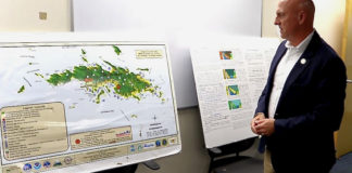 VITEMA Director Daryl Jaschen points out local danger and evacuation zones. (Source photo by James Gardner)