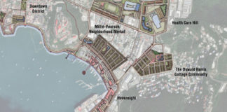 "The drawing in the Urban Land Institute's report on recommendations for rebuilding St. Thomas shows some of consultant's suggestions for changes to the ""study area"" in and near downtown Charlotte Amalie."