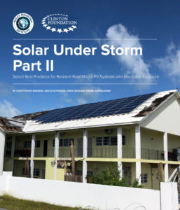 The cover of the latest report on how solar survived recent hurricane seasons.