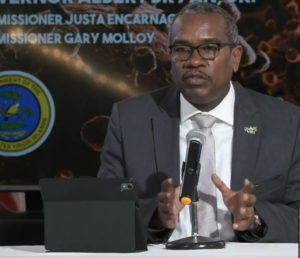 Gov. Albert Bryan, Jr. explains Monday why he is extended the territory's stay-at-home order for another month, to April 30. (Image captured from Government House live stream)