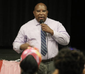 St. Croix District Insular Superintendent Carlos McGregor meets with parents of the affected schools Monday night. (Photo submitted by the Department of Education)