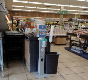 The hand sanitizer station at the Fruit Bowl is where it has been for the last 15 years. (Source photo by S. Pennington)