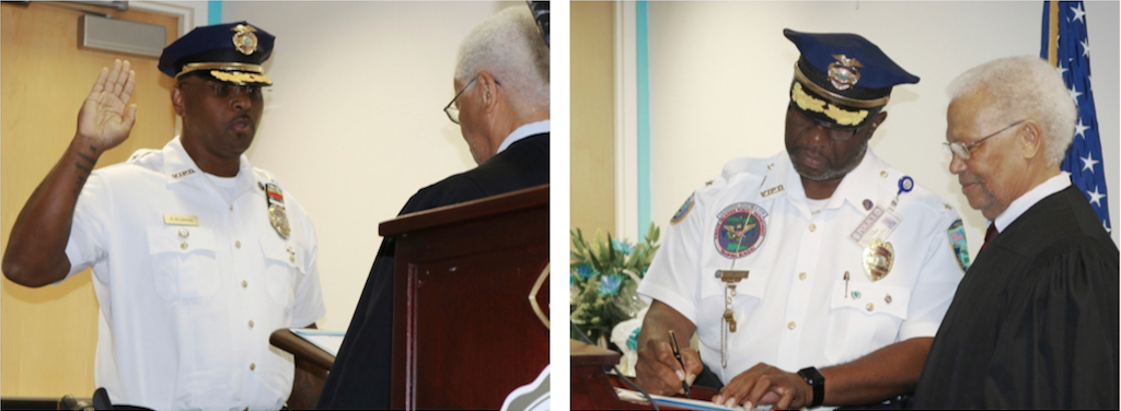 Left, Associate Supreme Court Justice Ive Arlington Swan administers the oath of office to St. Croix Police Chief Sydney Elskoe. At right, St. John-Water Island Police Chief Ludvig Thomas signs his oath. (VIPD photos)