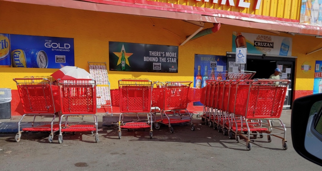 At Pueblo Long Bay, a jumble of carts obscures the store's entrance. (Source photo by S. Pennington)