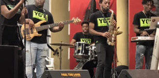 Young, Gifted & Talented Band, from left, Michonde Delauney, singer; Deon St. Jules, bass; Elijah Motta, drums; Javon Davis, saxophone; Malachi Maillard, keyboard, perform reggae, some with original lyrics, at Fredericksted's Dorsch Center. (Source photo by Elisa McKay)