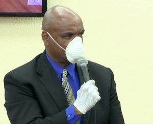 Sen. Dwayne DeGraff wears a during Friday's session. (Image from V.I. Legislature video stream)