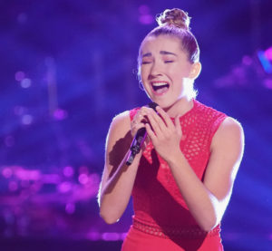 """St. John's Allegra Miles sings Sia's """"Chandelier"""" on the Knockout Round"""" of """"The Voice."""" Photo by Tyler Golden, NBC)"""