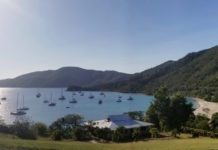 An unusual number of boats are moored in Brewers Bay. (Source photo by Bethaney Lee)