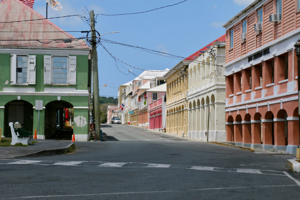 Almost no traffic was moving through Christiansted. Only a few vehicles were parked along King Street. (Source photo by Linda Morland)