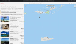 A screen shot of the Airbnb website shows lodgings available in the U.S. Virgin Islands.