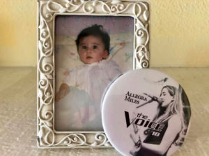 Allegra Miles as a baby and as a contestant on 'The Voice.' (Photo by Thia Muileburg)