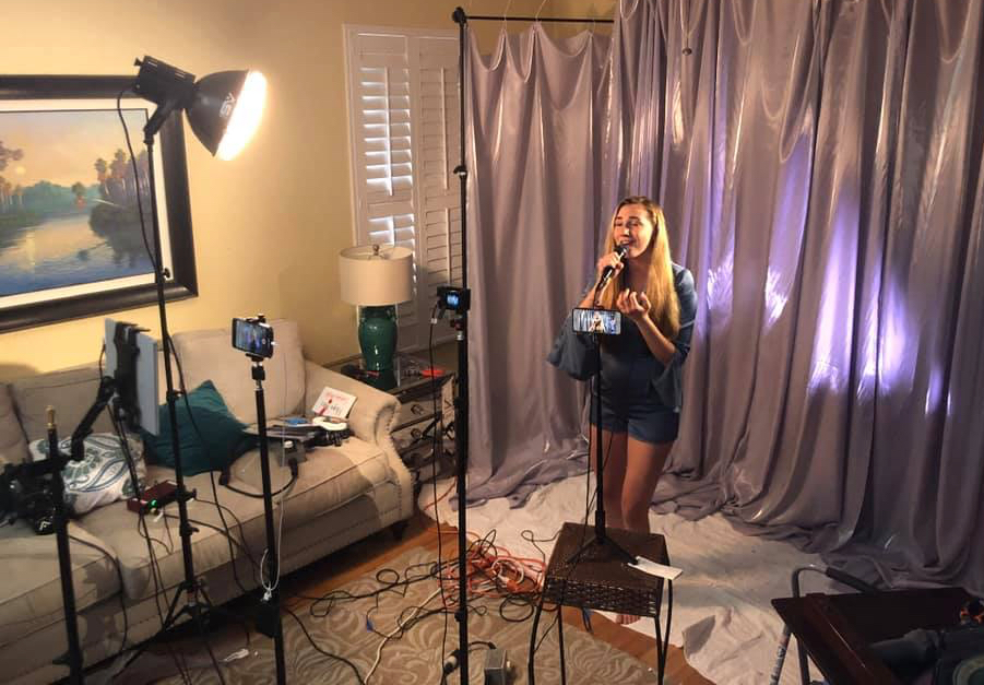 Allegra Miles rehearses at home for the semifinal of 'The Voice.' (Photo by Thia Muilenburg)