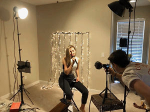Missy Muilenburg operates the camera as Allegra Miles rehearses for 'The Voice.' (Submitted photo)