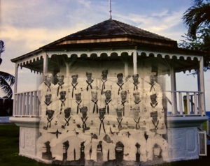 The spirit of the musicians from the U.S Navy band on St. Croix lives on at the bandstand. (Photo montage by ELisa McKay)