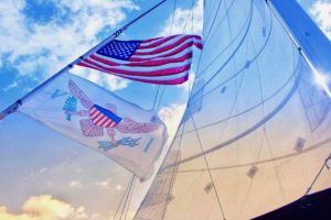 Wind fills the sails of a catamaran in the U.S. Virgin Islands. (Source photo Bethaney Lee)
