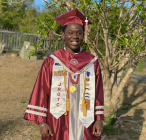 Trey Francis, in his St. Croix Central High School ap and gown, would have prefered the school ask students what they wanted for graduation. (Photo provided by Trey Francis)