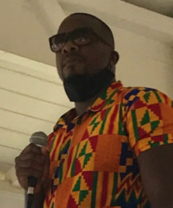 St. Croix Central High School teacher Joseph Bess warns against being comfortable in protesting. (Source photo by Elisa McKay)