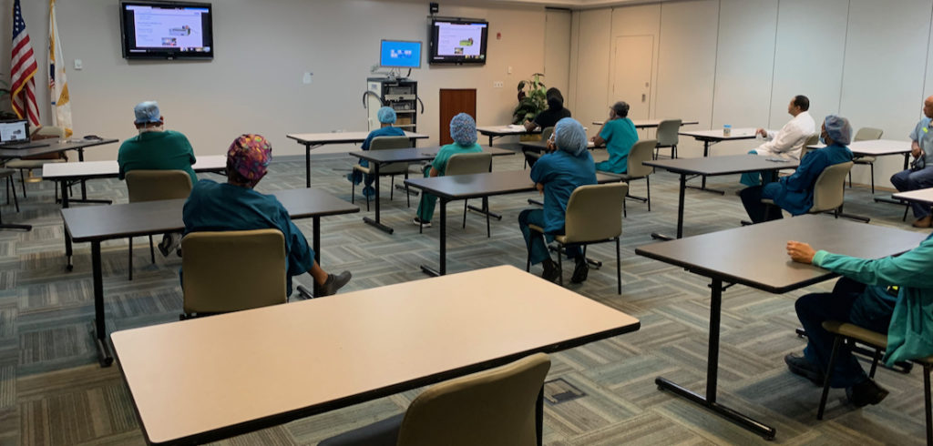 The JFL operating room staff undergo training on the hospital's new Storz Laparoscopic Tower on Thursday.