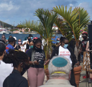 Anjail James gets ready to speak to protesters on the Waterfront on Saturday Morning (Source photo by Kyle Murphy)