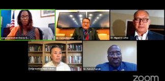 Delegate to Congress Stacey Plaskett, upper left, is joined by Carlos Escobar, Dr. Miguel LaPuz, Patrick Farrell and Mark Takano joined for a virtual veteran's town hall meeting. (Screen capture)