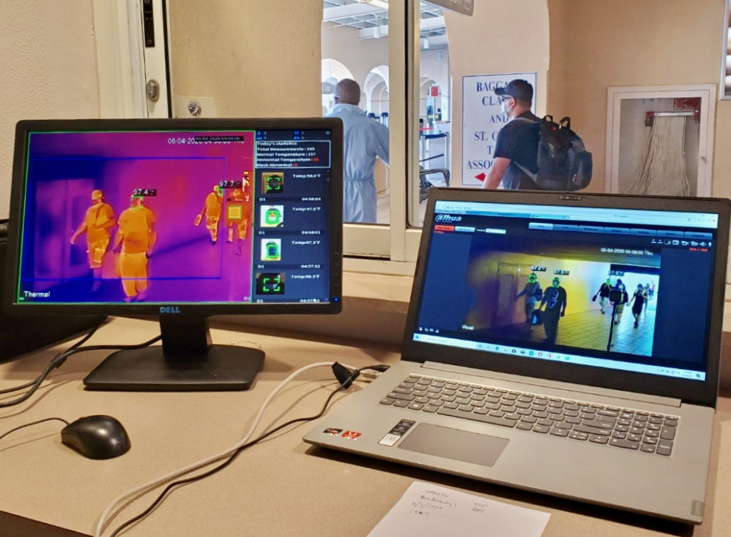The monitor on the left shows the readout of the thermal camera King Airport. The brighter parts of the image are hotter. (Photo provided by VIPA)