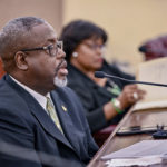 Department of Property and Procurement Commissioner Anthony Thomas defends the department's FY 2021 budget during the Finance Committee budget hearing. (Photo by Barry Leerdam, V.I. Legislature)