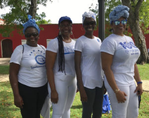 Members of the Zeta Phi Beta Sorority, from left, Paulette Edwards, Anna Clarke, Pauline James and Charlene Navarro, took part in the march. (Source photo by Elisa McKay)