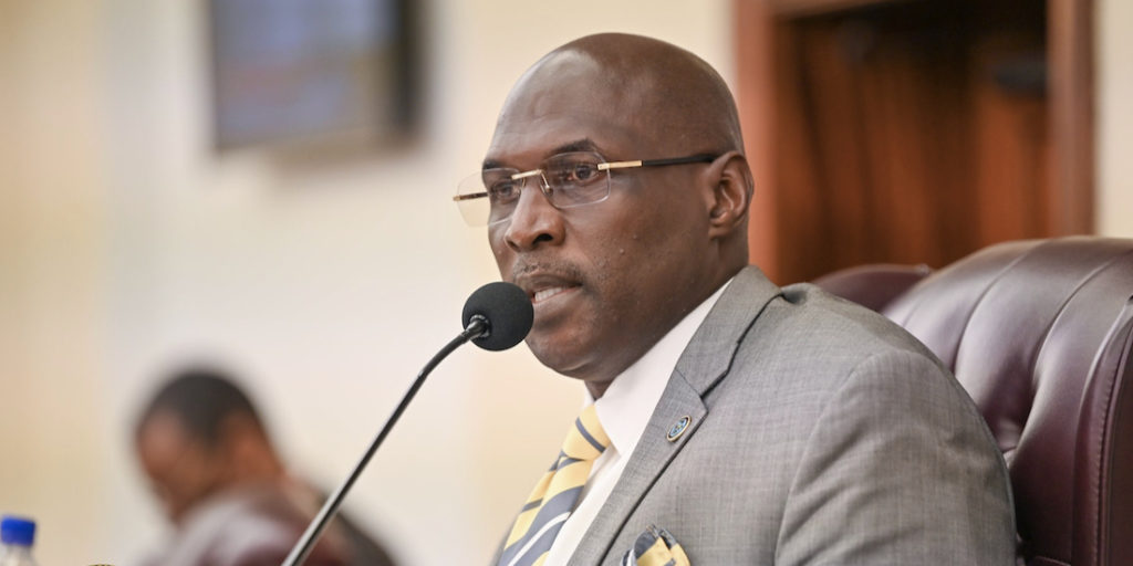 "Committee of the Whole Chairman Sen. Novelle Francis Jr. asks for an open and honest conversation with WAPA during Friday's hearing. (""Photos by Chaunte Herbert, Legislature of the Virgin Islands.)"