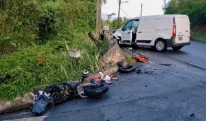 This motorcycle and minivan collided early Sunday, killing the rider of the motorcycle. (VIPD photo)