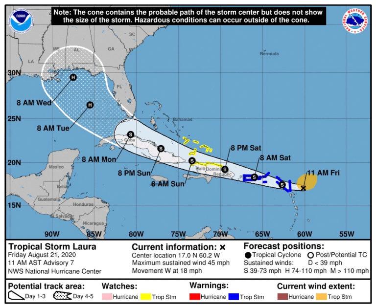 Tropical Storm Laura Approaching; Coast Guard Closes Ports