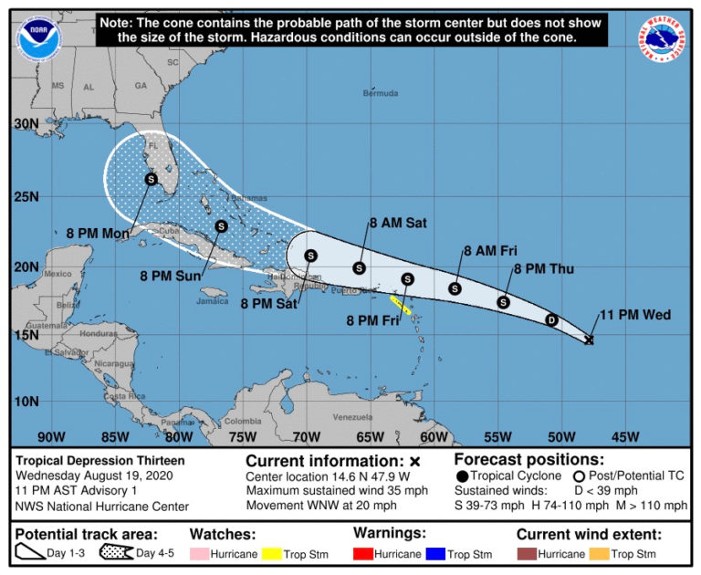 Approaching System Upgraded to Tropical Depression 13