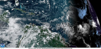 Sunday afternoon satellite photo shows Invest 95-L to the right, as it makes its way west towards the Caribbean. (NOAA satellite photo)