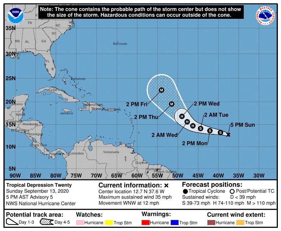 weather cone map Trop Depression 20 NHC