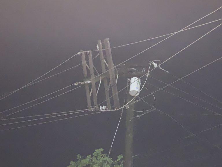 Utility Pole Fire Cuts STT-STJ Power Two Hours Sunday Night
