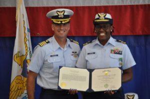 Capt. Don Montoro and Cmdr. Karima Greenaway Hantal. (U.S. Coast Guard photo)