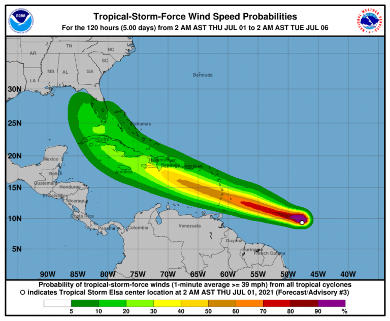 Tropical Storm Elsa Forecast to Pass South of USVI Friday *Update*
