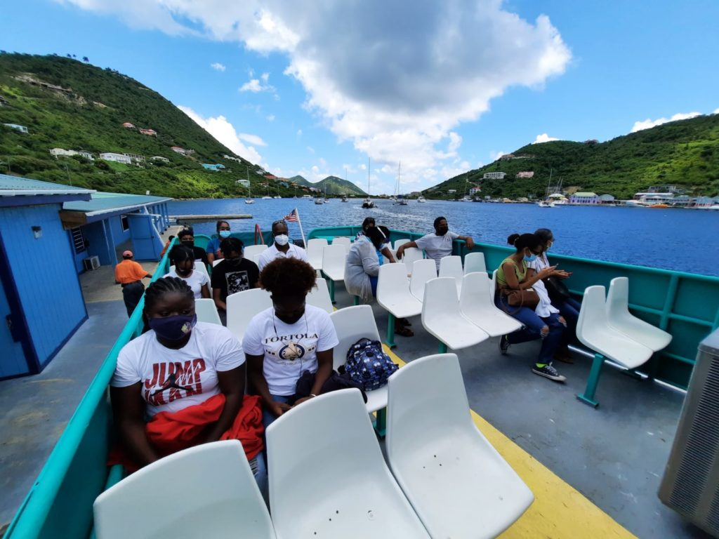 The first cohort of residents of the BVI-USVI Vaccination Bubble Initiative travel by ferry from Tortola to St. John on Aug. 3 to receive COVID-19 vaccinations. (Photo by BVI government)